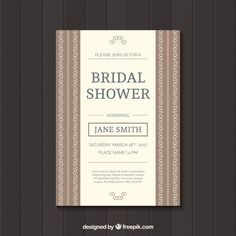 Bridal shower invitation with ornaments Free Vector
