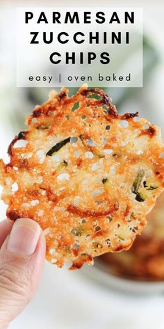 This oven-baked Parmesan Zucchini Chips recipe is a crispy appetizer made with only TWO INGREDIENTS! These delicious parmesan zucchini crisps also add a nice crunch to salads or with soups and pasta instead of bread. Zucchini Parmesan Crisps, Zucchini Chips Recipe, Easy Zucchini Recipes, Bake Zucchini, No Bake Snacks, Yummy Snacks, Snack Recipes, Keto Recipes, Savory Snacks