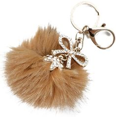 """Amazon.com: Unique & Custom 1 Single Large Size """"Split"""" Circle Keychain Ring Made of Steel w/ Jumbo Trendy Fashion Girly Modern Puffy Fluff Ball & Glamour Bow Style Charm Made of Polyester {Gold, Tan & White}: Automotive"""