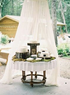 """Another example of """"Juxtaposition Design"""" - well designed focal point featuring flowing drape adds clean romantic softness to the wild rustic, natural elements"""