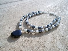 Shades of Grey Glass Pearl Necklace