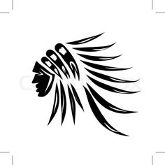 Head of indian chief, black silhouette for your design. Vector ...