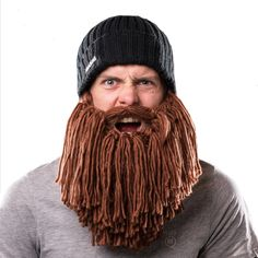 Our Viking beard hat range will help you unleash that inner barbarian! Our Viking Beard hat offers a selection of colors and beard styles. Crochet Mustache, Crochet Beard, Knitted Beard, Beard Wig, Beard Beanie, Beanie Hats, Man Beard, Beanies, Beard Winter