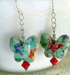 Earrings  BUTTERFLY  HowliteTurquoise  Swarovski   by molliebrown, $10.45