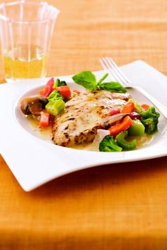 This dish takes just 15 minutes from stove to table: Simply sauté boneless, skinless chicken breasts, then simmer them with frozen stir-fry vegetables and a creamy Italian dressing. Get the recipe.