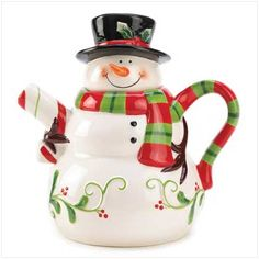 Handwash only/FDA approved.<br>Hand-painted ceramic snowman teapot wearing a black top hat accented with holly and red/green/white stripe handle. Individually gift X 6 X 5 X 3 set of Christmas Dinnerware, Christmas Dishes, Christmas Tea, Vintage Christmas, Tea Cup Saucer, Tea Cups, Teapot Cookies, Tea Pot Set, Teapots And Cups