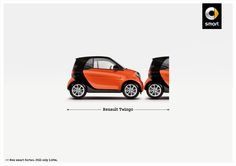 smart: Renault New smart fortwo. Still only 2.69m. Advertising Agency: CLM BBDO, Paris, France Executive Creative Director: Matthieu Elkaim Creative Director: Eric Pierre Art Director: Anthony Lietart Copywriter: Sébastien Duhaud Photographer: Alex Murphy Account Director: Séverine Autret