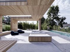 Two Verandas by Swiss architect Gus Wüstemann, who used raw concrete, oak and travertine to create the smooth walls and floors of this home and pool house overlooking Lake Zurich. The pool pavilion is clad in timber. (Photo by Bruno Helbling) A As Architecture, Residential Architecture, Computer Architecture, Outdoor Rooms, Indoor Outdoor, Outdoor Living, Exterior Design, Interior And Exterior, Gazebos