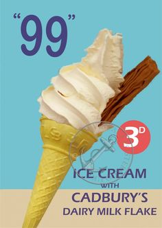 99 ice cream cone advertising - Long ago and far away - yummy 99 Ice Cream, Walls Ice Cream, Vintage Sweets, Retro Sweets, Vintage Advertising Posters, Vintage Posters, Retro Posters, Vintage Ads, Cadbury Flake