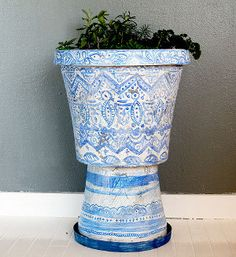 Painted Flower Urn idea not color and design.