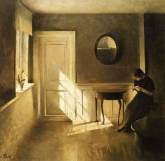 Girl Reading a Letter in an Interior (1908). Peter Vilhelm Ilsted (Danish, 1861-1933). The girl, eager to read, seeks out natural light as an alternative to comfort. She finds the light in a simply furnished hallway which, if late in the day, has a large window admitting a strong beam from the western sky.