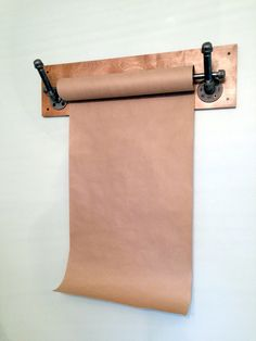 Kraft Paper Dispenser; Wall Mount; Reclaimed Wood; Industrial Pipe; Industrial Decor