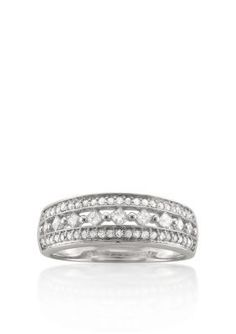 Belk  Co. White Gold 12 ct. t.w. Diamond Wedding Band in 14k White Gold