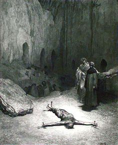 Dante at the 8th circle, sixth bolgia. The hypocrites.