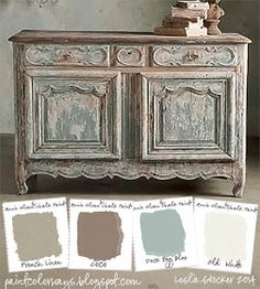 COLORWAYS Sideboard from Soft Surroundings inspire a color palette of soft neutrals. To recreate use Annie Sloan Chalk Paint®, French Linen, Coco, Duck Egg Blue, Old Furniture inspiration Chalk Paint Projects, Chalk Paint Furniture, Furniture Projects, Furniture Makeover, Diy Furniture, Painted Furniture French, Antique Furniture, Modern Furniture, Furniture Design