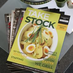 Take Stock magazine produced by the fabl. Distributed by wholesale members of Today's, to 25,000 independent, bars, restaurants, cafes and hotels across the UK.  The publication, which is bi-monthly, has been running since the beginning of 2012. Take Stock, What's Trending, Japchae, Catering, Grilling, Restaurants, Hotels, Magazine, Running