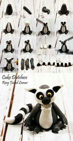 Ring tailed lemur, by Cake Dutchess Polymer Clay Figures, Polymer Clay Animals, Fondant Figures, Polymer Clay Projects, Polymer Clay Creations, Fondant Toppers, Fondant Cupcakes, Cupcake Toppers, Cake Fondant