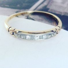Vintage 14k yellow & white gold diamond wedding band ring | Art Deco fine jewelry bridal stacking two tone gold ring | size 5 3/4