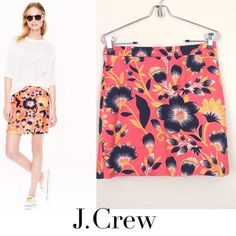 J crew floral mini skirt J crew floral cotton/linen skirt size 00 worn once like new excellent condition no damages $88 J. Crew Skirts