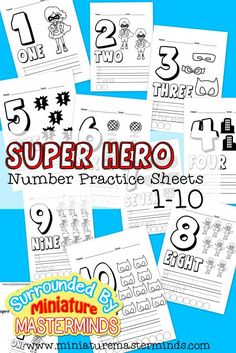free printable super hero counting pages