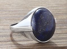 Men Ring 925 Sterling Silver,Natural Lapis All Sizes Available #istanbul_jewelry #Statement