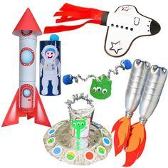 Met de Re-Cycle-Me knutselpakketten maak je gave dingen van recycled materiaal. Gebruik je lege PET flessen, eierdoos en wc-rollen en maak een rakket, ufo, astronaut en meer! Recycling, Upcycle