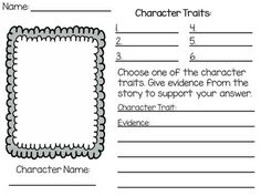Character Traits Worksheet with evidence from the text! **FREEBIE**