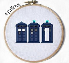 Dr. Who Tardis 3 Cross stitch patterns by Juliefoo on Etsy, $1.35