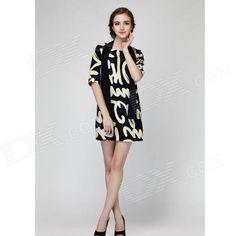 WS-2619 Fashion Linen Dress w/ Scarf for Women - Purplish Blue + White (L)