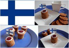 Finland Runebergintorttu - Runeberg´s tarte - Almond cardamon cake with rum, raspberry topping and icing Finland, Baking Recipes, Rum, Icing, Raspberry, Almond, Muffin, Pudding, Breakfast