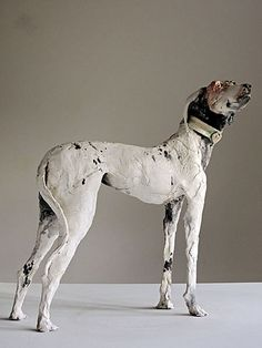 Black and white - dog - sculpture - Lurcher Whistler - Ostinelli & Priest