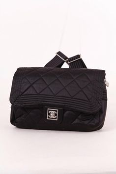 "Black Nylon Quilted Flap ""CC"" Turnlock Backpack"
