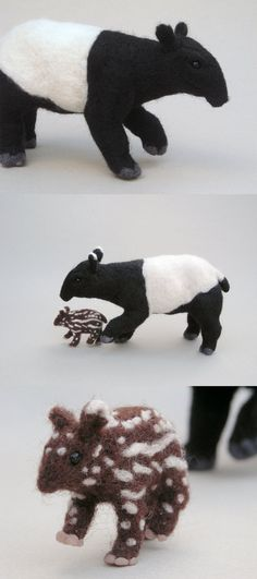 Needlefelted Tapir and Calf by ~creturfetur on deviantART