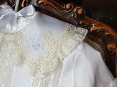 Boy's Overblouse with Shaped Lace Collar and Pin Tucks
