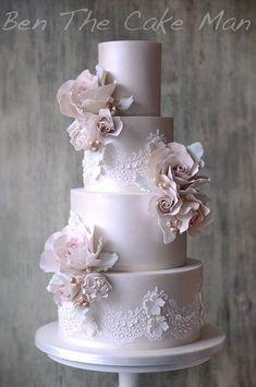 Pink Wedding Cakes Ben the Cake Man Wedding Cake Inspiration - Ben the Cake Man Wedding Cake Inspiration Amazing Wedding Cakes, Elegant Wedding Cakes, Wedding Cake Designs, Elegant Cakes, Lace Wedding Cakes, Wedding Cake Inspiration, Wedding Ideas, Wedding Planning, Gorgeous Cakes