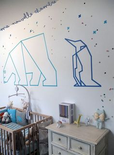 washi tape wall decoration...this gives me an idea~ I can vectorize origami animals with Washi tape on my wall! :)