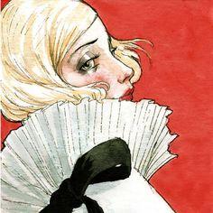 "Elegant blonde flapper girl portrait print ""A Walking Snowstorm"" by Amy Abshier Reyes 19/30"