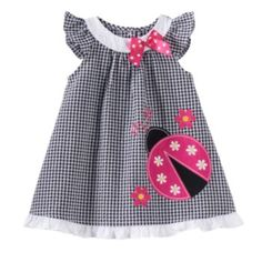 Sophie Rose Ladybug Plaid Seersucker Dress - Baby Girl