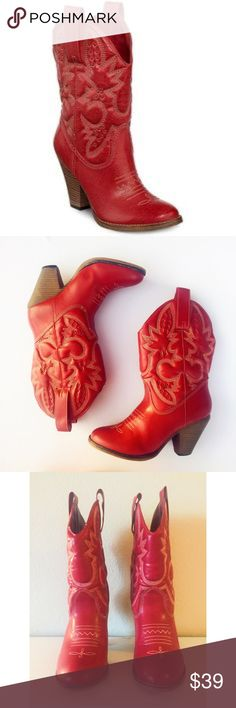 """Beautiful Vintage ❤Red ❤Cowgirl Boots Size 7 Sexy cowgirl boots !! Made of lamb leather . 3""""heel . Super comfortable . Matches any jeans and skirts . Beautiful vintage red color . Only wore twice , very gently, in perfect condition. Fit true to size . No stains , scratches on the leather . Reasonable offers are welcome XO MIA Shoes Ankle Boots & Booties"""