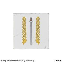 Viking Sword and Plaitwork Stone Magnet.  40% off with code STICK2GETHER  Offer is valid through April 15, 2017 11:59 PM PT.  #zazzle #stone_magnet #magnet #Viking_sword #medieval_sword #sword #Viking_plaitwork #plaitwork