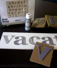 easy cheap alphabet stamps - foam letter sets from dollar tree glued to cardboard/wood.