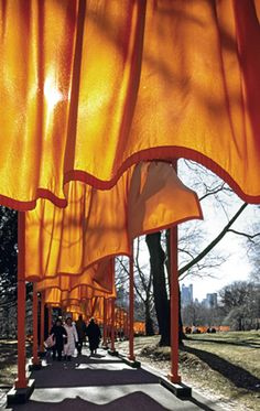 The gates in central park - 2005. By Christo and Jeanne-Claude.  Christo is Bulgarian.  Beautiful concept.