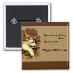 cute square happy mother's day button