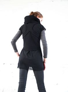 Boiled Wool Cropped Vest w/ Cowl Collar and Racer Back-Black, via Etsy.