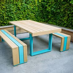Scout Regalia outdoor dining set (© Thomas J. Story)  Forest Stewardship Council-certified redwood or white oak, 210 powder-coated colors; from $2,100.