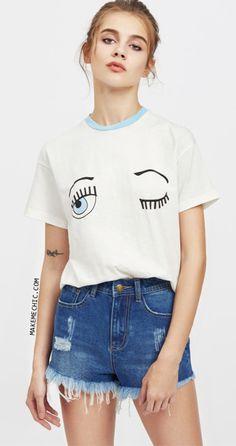 Contrast Neck Drop Shoulder Wink Eye Print Tee