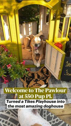 Amazing Dog Houses, Fancy Dog Houses, Wood Dog House, Large Dog House, Diy Dog Kennel, Outdoor Dog Kennel, Outdoor Dog Bed, Dog Backyard, Dog Friendly Backyard