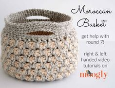 The Moroccan Basket now includes a special video tutorial! Watch and get the FREE crochet pattern on ! Crochet Patterns For Beginners, Easy Crochet Patterns, Stitch Patterns, Blanket Patterns, Crochet Basket Tutorial, Crochet Basket Pattern, Crochet Baskets, Stitch Crochet, Knit Crochet