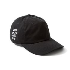 antisocialsocialclub - 100% black cotton twill  Extra low-profile with unconstructed crown  Adjustable strap back