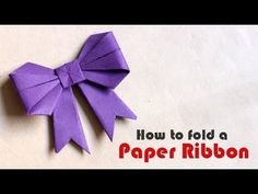 Awesome and Easy Paper Bow or Ribbon for gift box decoration. Paper Ribbon Bows, Origami Ribbon, Paper Crafts Origami, Diy Ribbon, Ribbon Crafts, How To Make Origami, How To Make Ribbon, Origami Easy, How To Make Paper